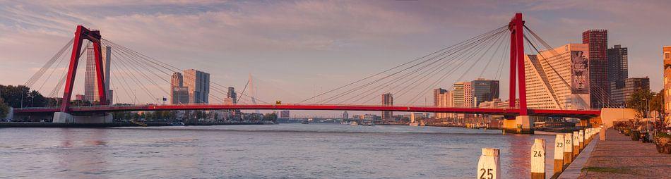 Panorama Willemsbrug Rotterdam van Ilya Korzelius