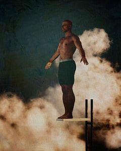 Porträt eines farbigen Mannes auf einem Sprungbrett von Jan Keteleer