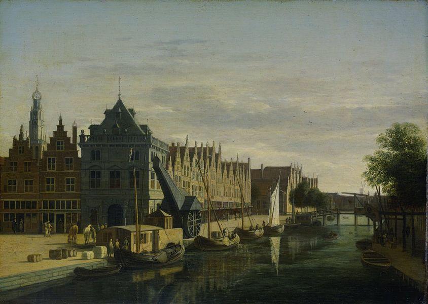 De Waag en de kraan aan het Spaarne te Haarlem