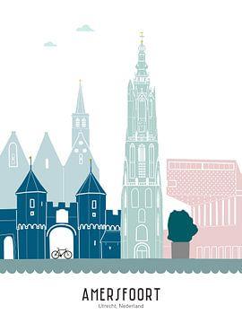 Skyline illustratie stad Amersfoort in kleur van Mevrouw Emmer
