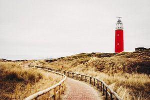 Red lighthouse in the dunes on Texel