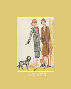 La promenade | De wandeling met de hond | Historische Art Deco Mode prent van NOONY