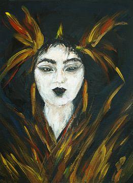 Geisha mit goldenen Federn. von Ineke de Rijk