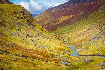 Vallei in herfstkleuren, Lake district, Groot Brittannië van Rietje Bulthuis