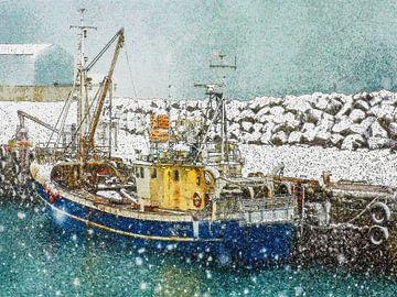 Schnee in Keflavik, Island von Frans Blok