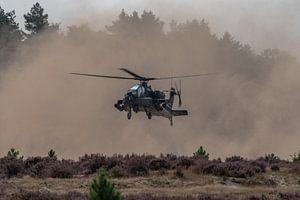 Apache-gevechtshelikopter (AH-64) van de Koninklijke Luchtmacht  landend op de heide bij Oirschot (G
