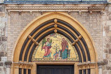 Mozaïek, Toegangsportaal, Kathedraalbasiliek, Bonn, Noordrijn-Westfalen, Duitsland, Europa