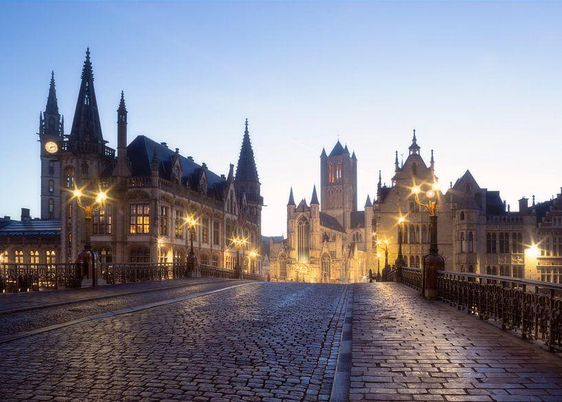 Gent - Sint-Michielsbrug bij zonsopkomst van Krist Hooghe