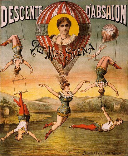 Poster, Circus met acrobaten en trapeze,1890 van Gerrie Tollenaar