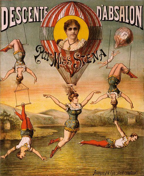 Poster, Circus met acrobaten en trapeze,1890 van Natasja Tollenaar