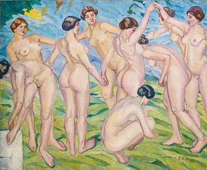 Akte (Frauen, die im Kreis tanzen) Francisco Iturrino, 1916