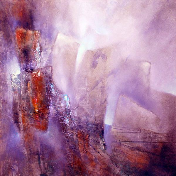 Abstracte compositie: violet, roos en sienna van Annette Schmucker