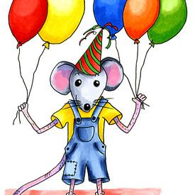 Feestelijke kleine muis met ballonnen van Ivonne Wierink