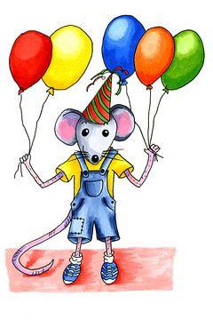Festliche kleine Maus mit Luftballons von Ivonne Wierink