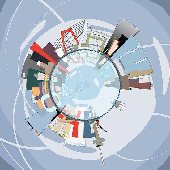 Bolpanorama Skyline Rotterdam van  Frans Blok