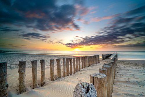Houten zeewering op het strand van Zeeland