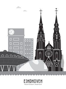 Skyline illustratie stad Eindhoven zwart-wit-grijs van Mevrouw Emmer