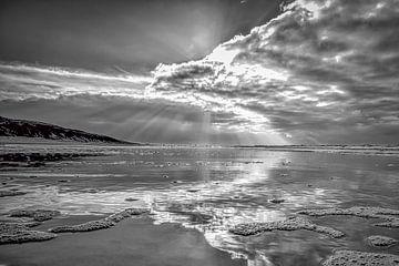 zeezicht  of zeegezicht van de Nederlandse kust in zwart-wit von eric van der eijk