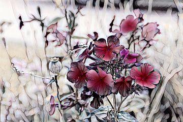Rote Blumen Aquarellmalerei