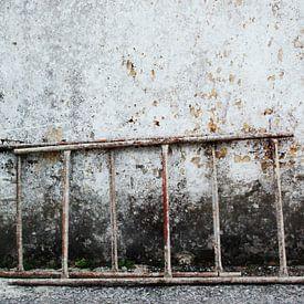 ladder tegen verweerde muur van Annemie Hiele