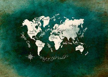 Weltkarte grün weiß #Karte #Weltkarte von JBJart Justyna Jaszke