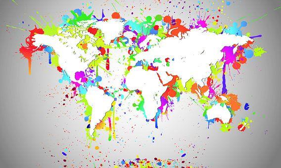 World Map White Splash