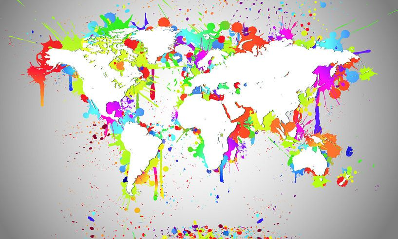 World Map White Splash van World Maps