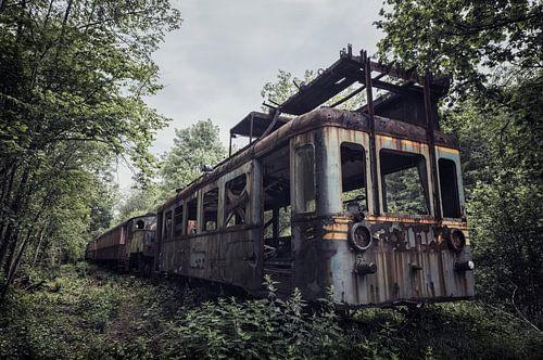 Verlaten urbex trein midden in de bossen