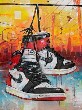 Nike air Jordan 1 Retro High 'black toe' Gemälde von Jos Hoppenbrouwers