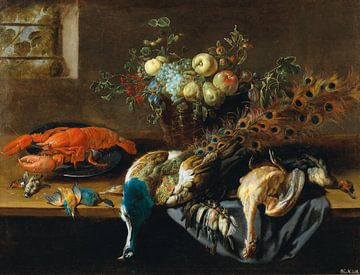Ein Pfau, Obst, gekochter Hummer und eine Vogelbeute, Adriaen van Utrecht