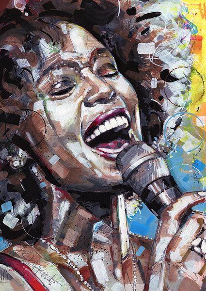 Whitney Houston schilderij van Jos Hoppenbrouwers