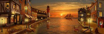Nostalgische haven in zonsondergang van