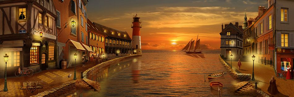 Nostalgische haven in zonsondergang