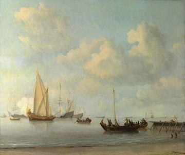 Boten die zich terugtrekken naar een jacht in een rustige omgeving, Willem van de Velde