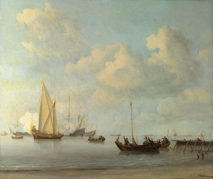 Boote ziehen in aller Ruhe zu einer Yacht aus, Willem van de Velde von Meesterlijcke Meesters