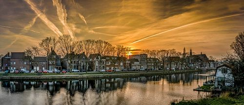 Panorama Hoogstraat Weesp vanaf schans