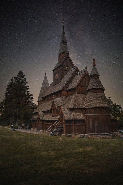 Gustav-Adolf-Stabkirche 's nachts van Sergej Nickel