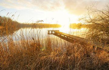 Steiger bij zonsondergang (Nederland) van Marcel Kerdijk
