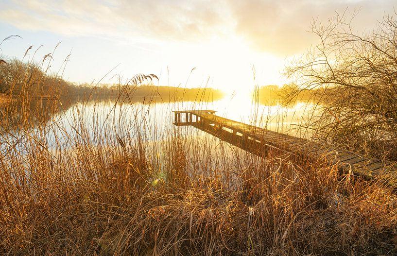 Steg bei Sonnenuntergang (Niederlande) von Marcel Kerdijk