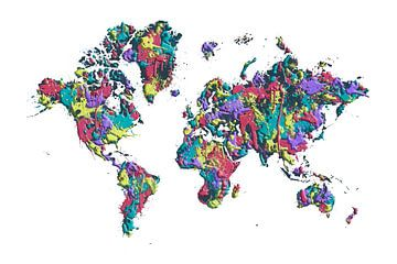 POP ART kaart van de wereld van verf spetters van Melanie Viola