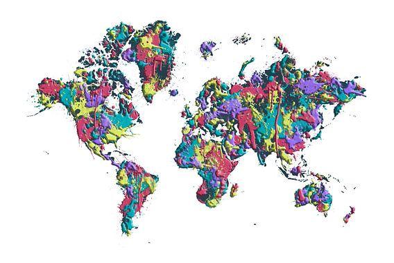 POP ART kaart van de wereld van verf spetters