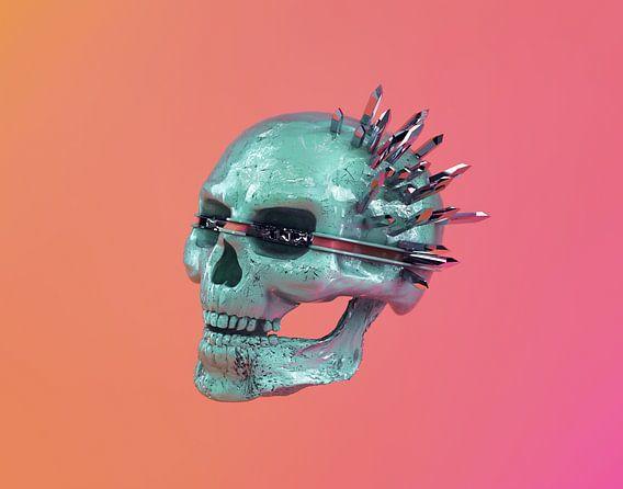 Colorful chrome skull