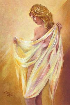 Naakt met een doek - erotische schilderij van Marita Zacharias