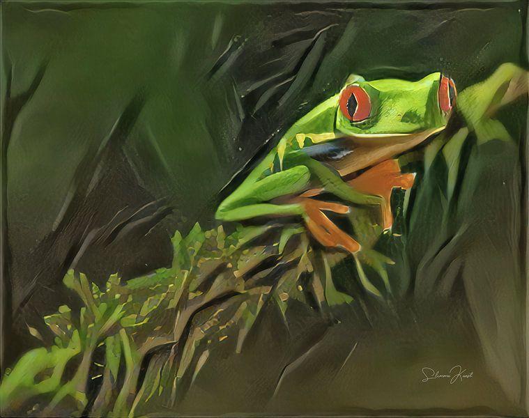 Schilderij van kikker: Roodoogkikker in oerwoud van Slimme Kunst.nl