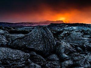 'Vuur' bij de Fagradalsfjall vulkaan op IJsland van Eddy Westdijk