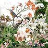 Der Eisvogel bei den Orchideen in Retrofarben von christine b-b müller Miniaturansicht
