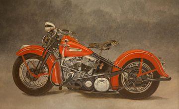 Schilderij Harley Davidson Panhead uit 1948 van Jon Bakker
