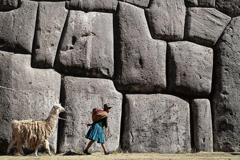 Mädchen mit Lama bei den Inka-Ruinen von Sacsayhuaman in der Nähe von Cusco, Peru von Frans Lemmens