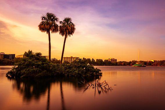 Lake Eola Orlando tijdens zonsondergang