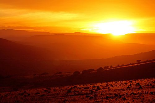 sunrise in the landscape of Namibia